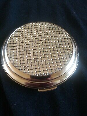 Vintage Signed Whiting & Davis Gold Mesh Metal Powder Compact With Mirror New