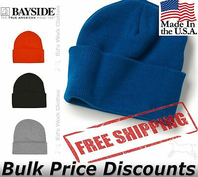 Plain Solid Blank Knit Beanie Folded Cuff Skull Cap Winter 3pc 6pc 12pc Lot USA