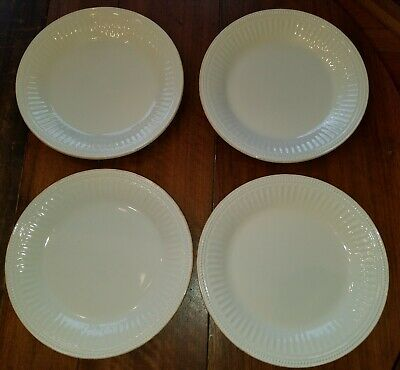 """LENOX American by Design Set of 4 French Perle Groove White 11"""" Dinner Plates"""