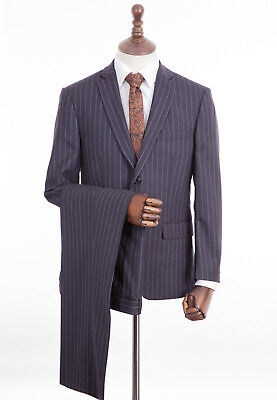 Men's Navy Blue Suit Blake & Currethers Tailored Fit 38L W32 L33