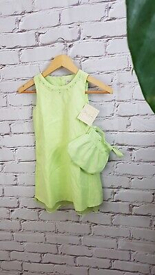 NWT New Polly Flinders Green Linen Dress Lined Set with Purse Girls Size 6