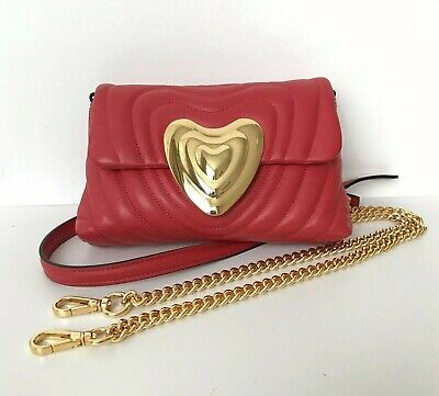 ESCADA Small Red Leather Heart Bag with Gold Trim & Detachable Strap VGC