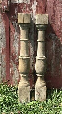 Pair Architectural Salvage Wood Balusters, Antique Spindles Porch Post Columns