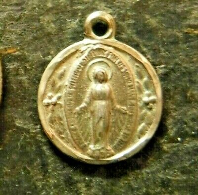 Vintage Petite Round Catholic Miraculous Medal, Silver Filled