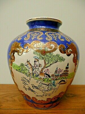 Old Decorated CHINESE POTTERY Blue Enamel HAND PAINTED Gilt Hunting Scene VASE