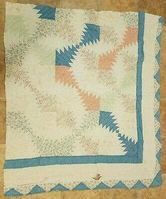 Vintage cutter quilt piece 40x43 Great for crafts or junk journals!!