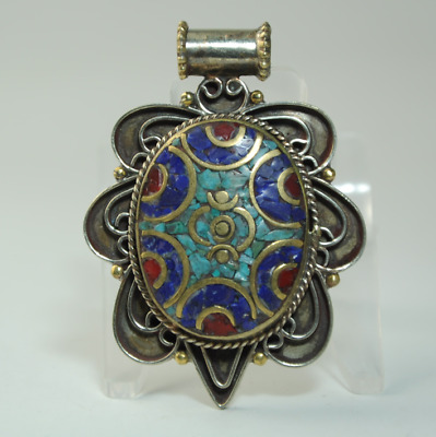 Collection chinese old hand-made Tibetan silver inlay Turquoise pendant 04/Aa02