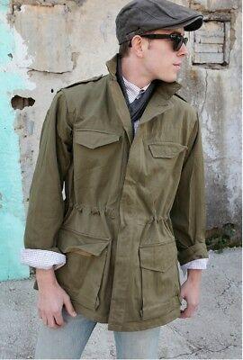 French M47 Khaki field jacket combat coat surplus army military 1950s denim