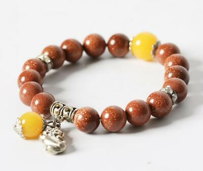 collect Chinese goldstone Handwork 10MM Circle Bead Buddha Beads Bracelet /A 02D