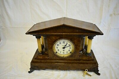 Antique American Seth Thomas Golden Bronze Adamantine Parlor Clock Clean, Runs