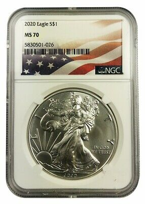 2020 1oz Silver Eagle NGC MS70 - Flag Label