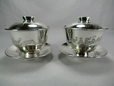 Pair Chinese Export Pure Silver 3 Piece Rice Bowls Sake Cups Hand Chased Birds