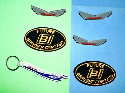 6 Braniff Airlines Airplane Keychain Hat Patch Junior Pilot Kiddie Wings Pin Lot