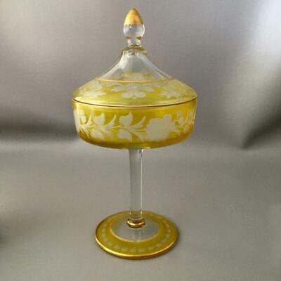 Antique Czech Bohemian Etched Glass Gold & Yellow Apothecary Candy Display Jar