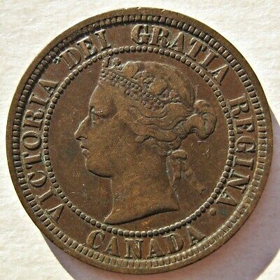 Canada 1881-H Queen Victoria Bronze Large Cent Coin (Km# 7)
