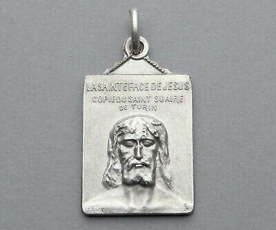 Jesus Christ Holy Face. Shroud of Turin. Antique Religious Pendant. French Medal
