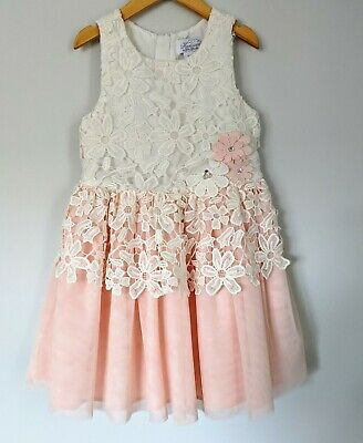 Heirlooms by Polly Flinders Girls White Pink Tulle Floral Lace Dress Size 6x