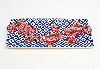 """NEW Mud Pie Ceramic CRAB SERVING PLATTER Rectangle Plate Red White Blue 16.5"""" LG"""