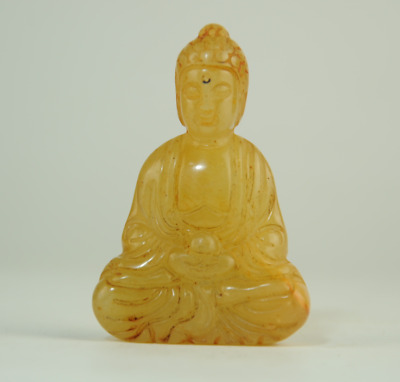 Collect Rare chinese natural old jade hand-carved Buddha statue pendant 0810B