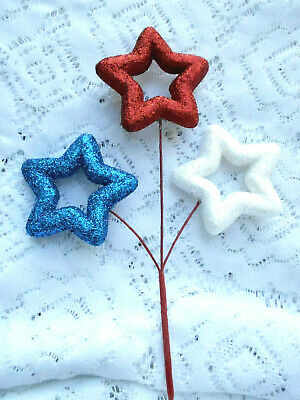 Patriotic Red White Blue Stars Decoration Pick Independence Day July 4th