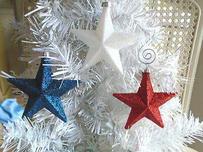 Red White Blue Star Glitter Ornaments Tree Patriotic Fourth of July 4TH