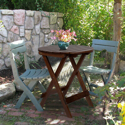 Outdoor Folding Dining Table Round Solid Wood Garden Table Coffee/Side Table US