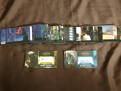 Star Wars The Force Awakens Topps 3D Widevision Card Set w/ 2 Autogragh cards