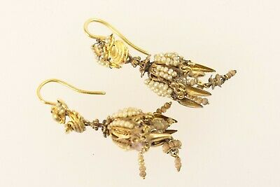 Pair Of Italian Or Maltese Seed And Filigree Pendant Earrings, 19Th Century