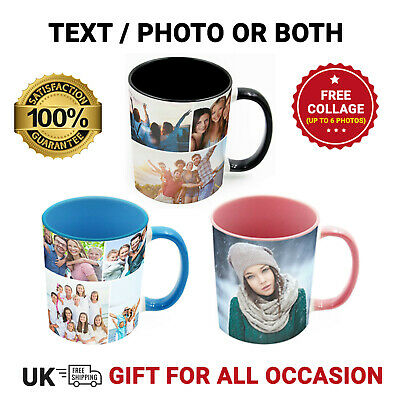 Personalised Mug Custom Photo Text Collage Mothers Day Inner/Handle Colour Mug