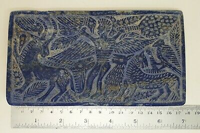 A Very Lovely Sasanian Lapis Lazuli Rectangle Tablet With beautiful engravings