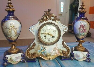Jacob Petit Hand Painted Antique French Porcelain Mantle Clock Sevres Style Set