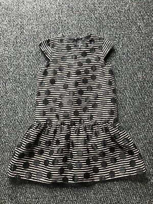 girls NEXT lightweight black/brown striped/spotted dress size age 9 years