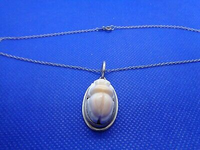 Vintage Art Deco Egyptian Revival Silver Angel Skin Coral Scarab Necklace