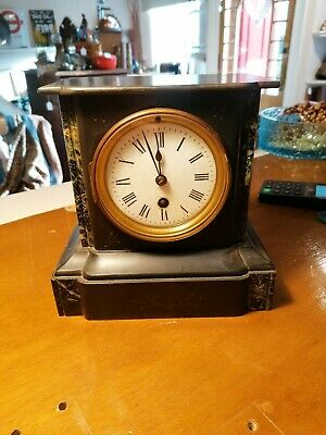 ANTIQUE MARBLE AND BLACK SLATE MANTEL CLOCK FOR spares or repairs.