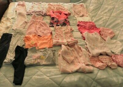 Job lot bundle baby clothes 3-6 months various brands Baby grows vest dresses