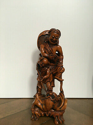Early 20th Century Chinese Boxwood carving of Liu Hai