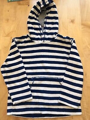 Mini Boden Boys Terry Cloth Pullover Swim Hooded Blue White Stripes  7-8 Years