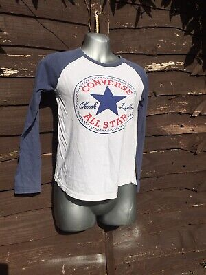 Converse Unisex Kids Long Sleeved Blue And White T Shirt Aged 8 To 10