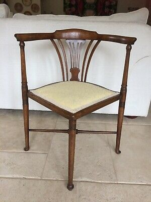 Antique Edwardian Mahogany Inlaid Corner Chair