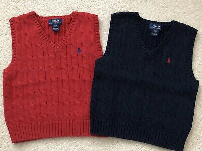 Polo Ralph Lauren Sweater Vests Lot Of 2 Toddler Boys Size 3/3T Red And Navy EUC