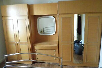 Retro mid-century Schreiber - Double wardrobe set and matching dresser + drawers