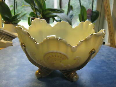 ANTIQUE JAPANESE LARGE SCALLOPED PORCELAIN BOWL WITH RAISED FLOWERS Gold Trim
