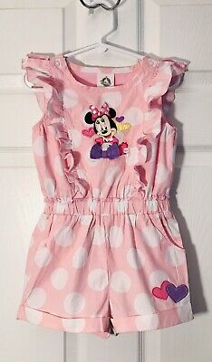 Disney Store Girls Romper Minnie Mouse Polka Dot Lined Pink White Size 4