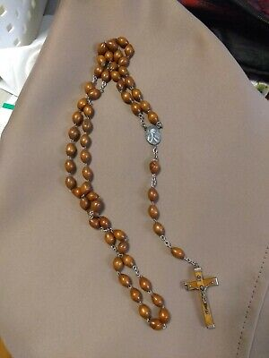 Blessed Catholic Rosary Necklace Olive Wood Oval Beads Italy Crucifix