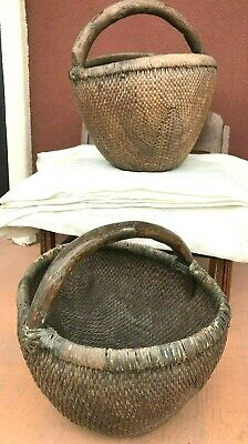 Two Large Antique Willow Baskets with Wood Handles