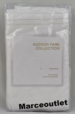 Hudson Park Italian Linens Cotton Percale STANDARD Pillowcases White - White