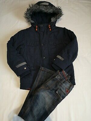 Boys Navy Next Hooded Parka Coat - Age 6 Years and Next Jeans