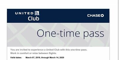 Two UNITED CLUB PASSES For Your Trip exp 3/14/2020.