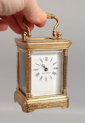 Small 19thC Antique Hand Engraved Gilt Bronze, Fancy French Carriage Clock