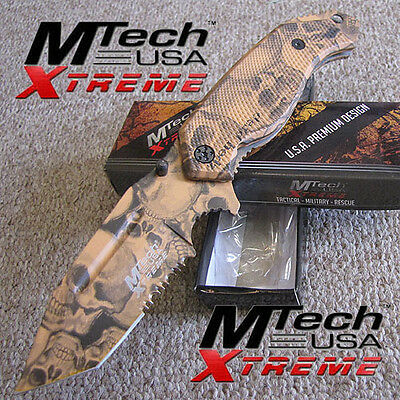 MTech Xtreme - SKULL CAMO - Tactical Folding Pocket KNIFE - Tan/Brown MX-797TNT